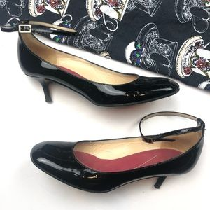 Kate Spade Patent Leather Kitten Heel Ankle Strap